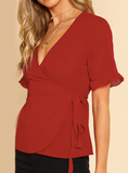 RILEY'S RED WRAP IT UP BLOUSE - B ANN'S BOUTIQUE