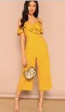 GOLDEN RUFFLES JUMPSUIT - B ANN'S BOUTIQUE