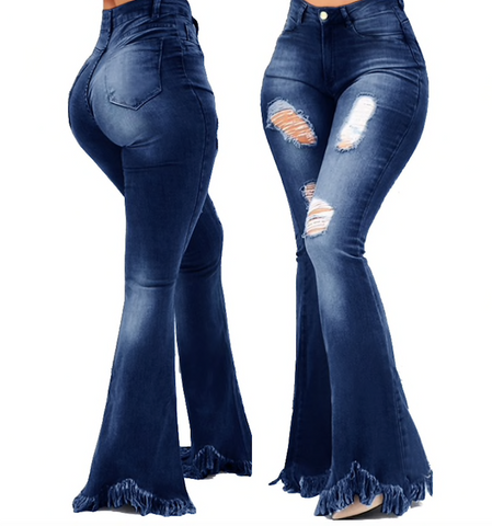 FRINGE FLARE DENIM PANTS - B ANN'S BOUTIQUE