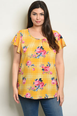 SUNSHINE FLORAL PATCH TOP - B ANN'S BOUTIQUE