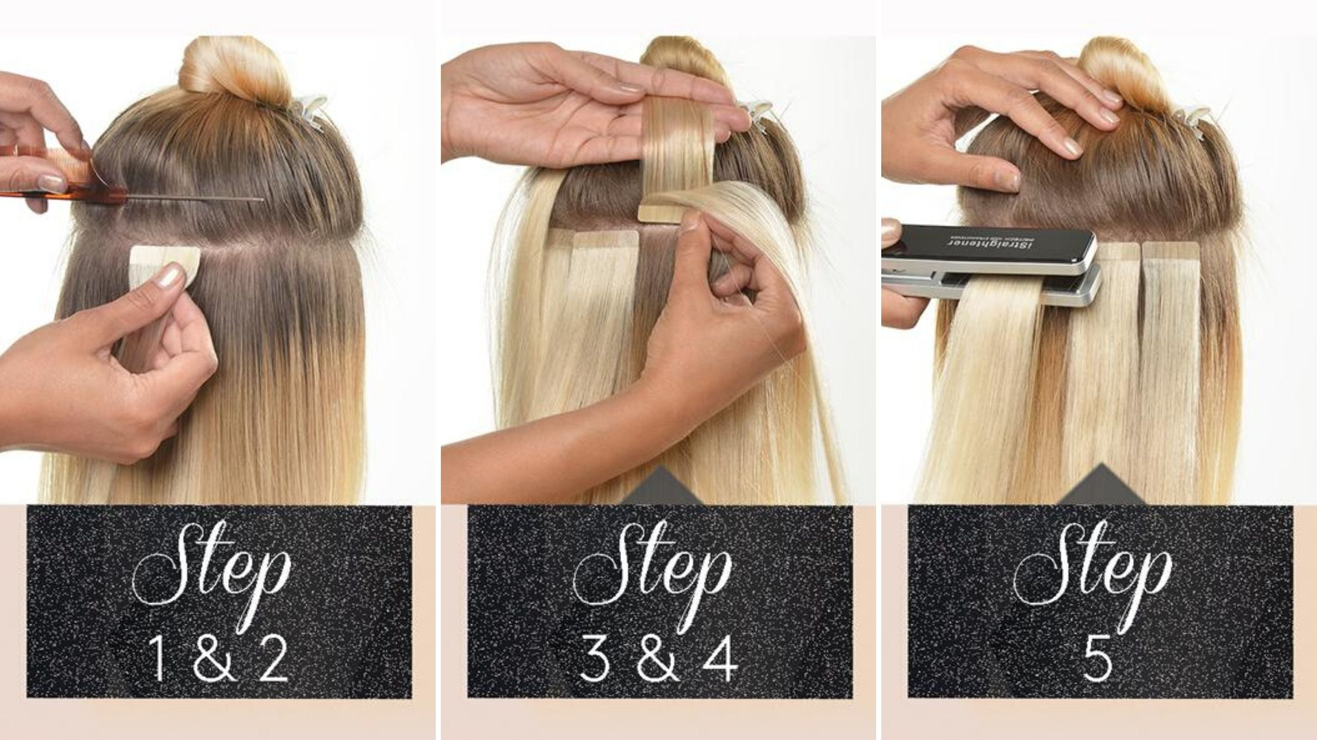 Anwendung Tape-in Extensions
