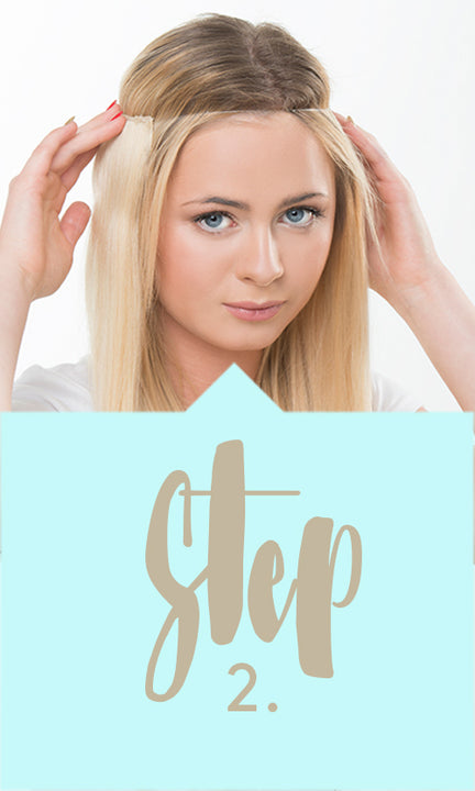 How to apply one piece hair extensions - Step 2