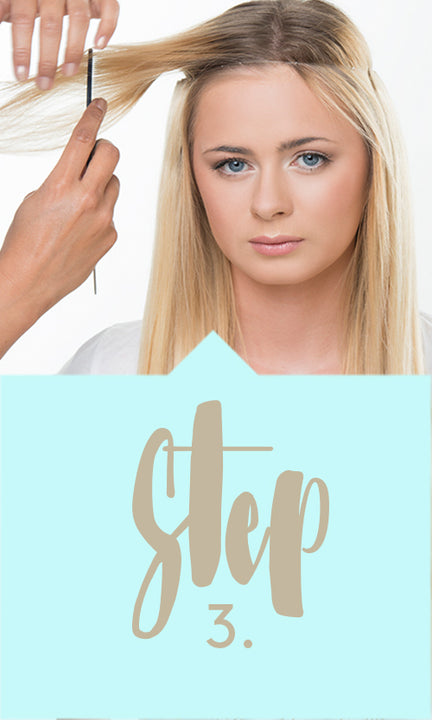 How to apply one piece hair extensions - Step 3