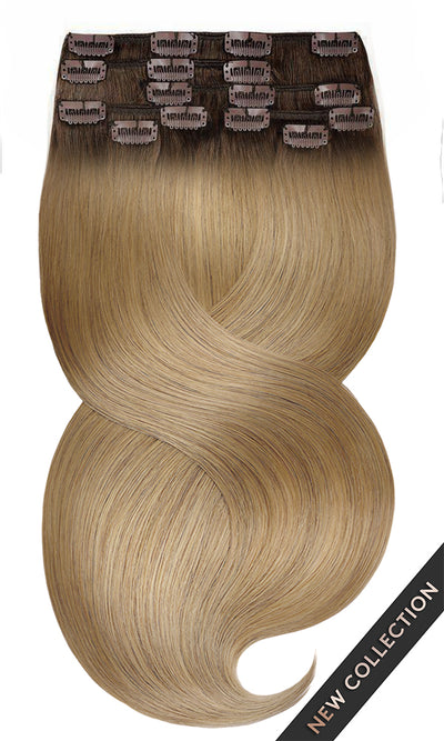 ROOTS CLIP IN FASHION LINE Schwarz-Braun & Hellbraun-Karamell Extensions