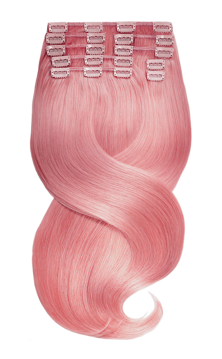 Clip-in hair extensions pink