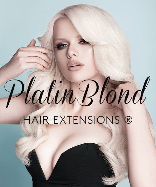 Woman wearing Platinblond Hair Extensions by Rubin Extensions