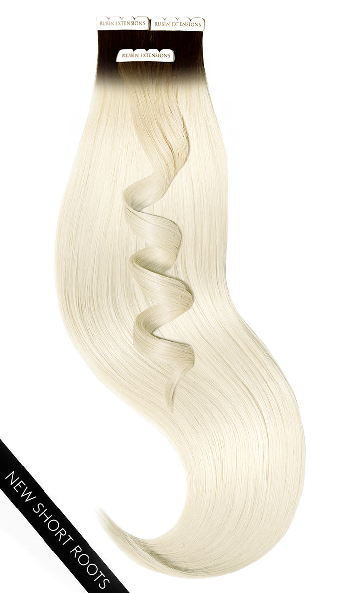 PRO DELUXE LINE INVISIBLE Schwarz-Braun & Platinblond Tape-in Extensions