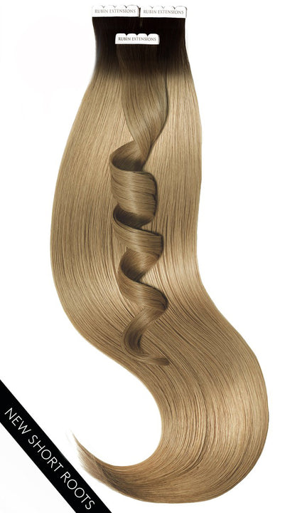 PRO DELUXE LINE INVISIBLE Schwarz & Cold Brown Tape-in Extensions