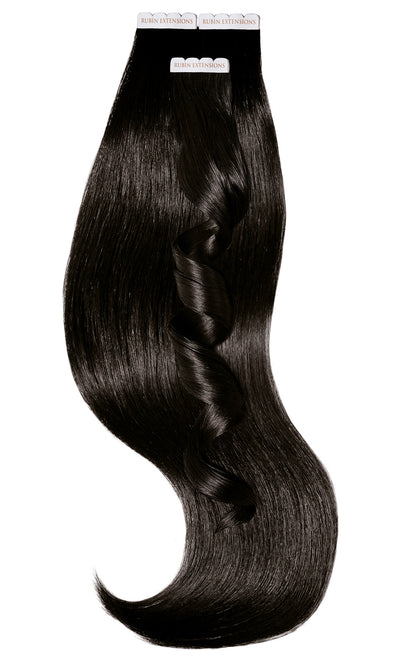 Schwarz-Braun Tape-in Extensions Luxus Haar