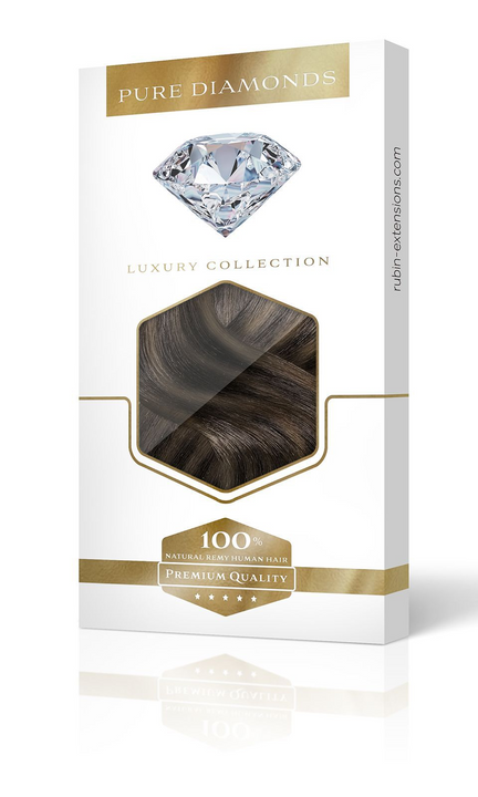 Ombre Balayage Clip-in Hair Extensions - PURE DIAMONDS LINE Schwarz & Natur-Goldbraun