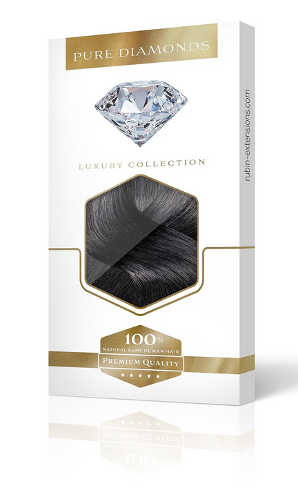PURE DIAMONDS LINE Schwarz Clip-in Remy Hair Extensions