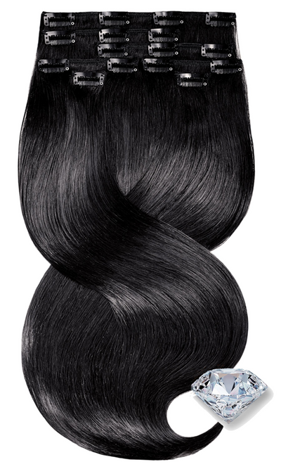 PURE DIAMONDS LINE Schwarz Clip-in Human Hair Extensions