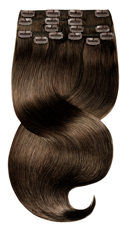 Remy Clip-in Hair Extension Kastanien-Dunkelbraun