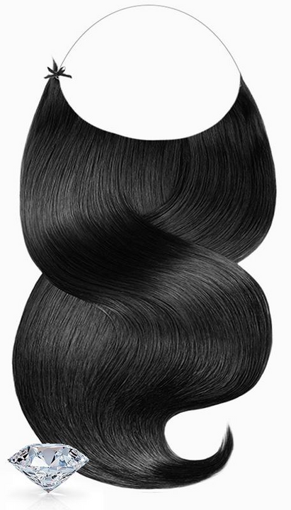 One Piece Halo Hair Extensions PURE DIAMONDS LINE Schwarz