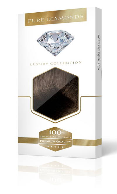 One Piece Hair Extensions PURE DIAMONDS LINE Schoko-Dunkelbraun