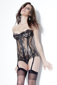 Eyelash Lace Bustier with Garters