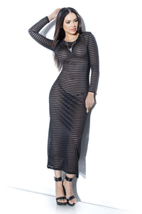 Striped Stretch Long Sleeve Dress