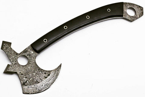 Tomahawk Ax- Throwing Axe- Handmade Pattern Welded High Carbon Damascus Steel  - 17""