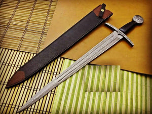 Bastard Sword / Longsword- High Carbon Damascus Steel Sword- 27""