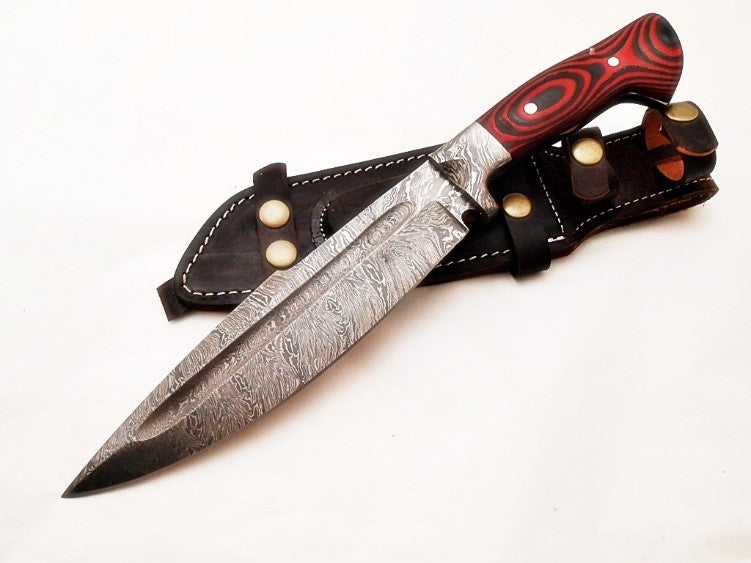 Bowie Knife- Outdoors Knife- High Carbon Damascus Steel Blade- Hunting Knife