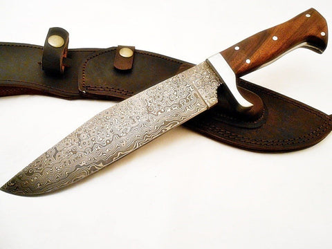 Bowie Knife- High Carbon Damascus Steel Blade- Hunting Knife