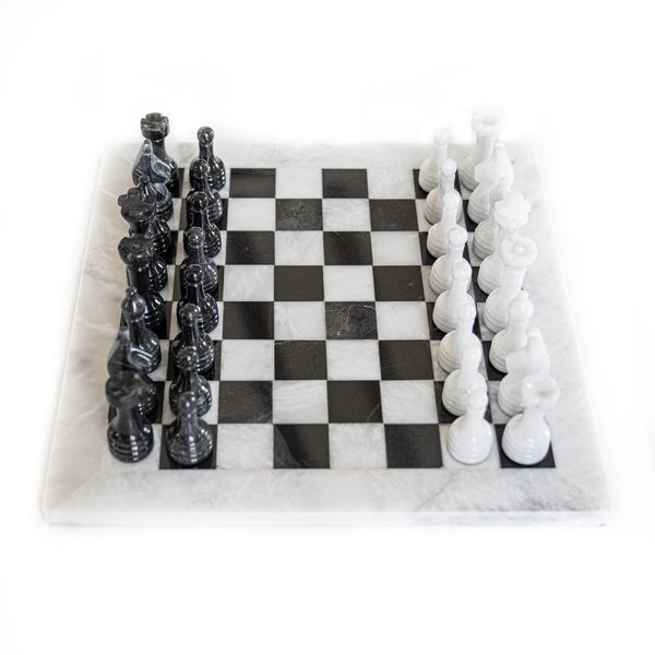 Marble Chess Set- White and Black Marble Chess Board with Chess Pieces- 12""
