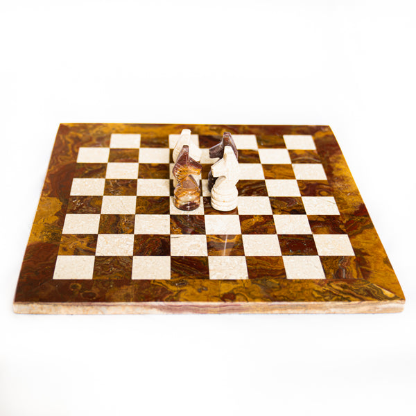 Marble Chess Set- Red and White Coral Marble Chess Board with Pieces- 12""