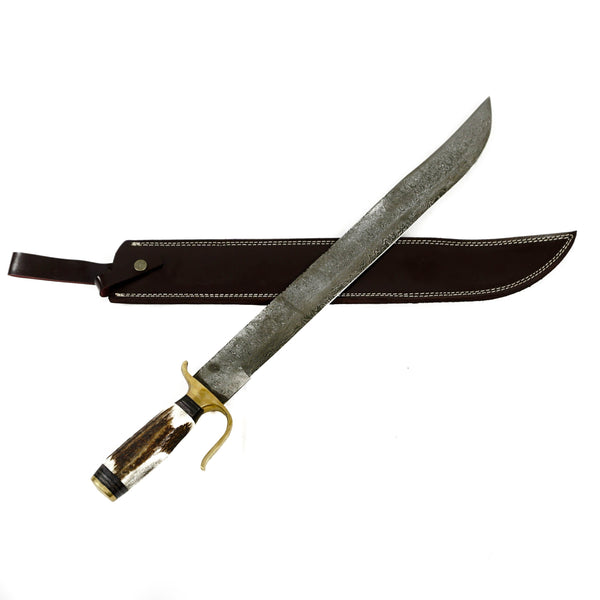 "Arabian Scimitar Sword- High Carbon Damascus Steel Sword-26"" Battle Ready"