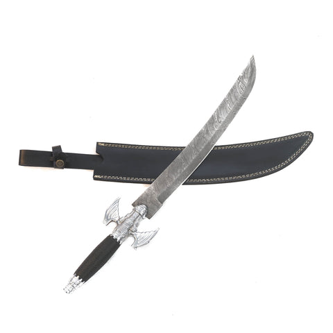 "Scimitar Sword/ Saber - High Carbon Damascus Steel Sword- 19""- Sabre Sword"