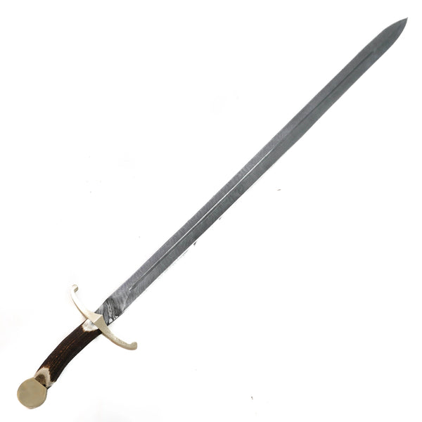 "Claymore Sword- High Carbon Damascus Steel Sword- 44""- Stag Horn Handle"