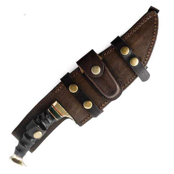 Jungle Hunting Knife- Rams Horn Handle- High Carbon Damascus Steel Blade