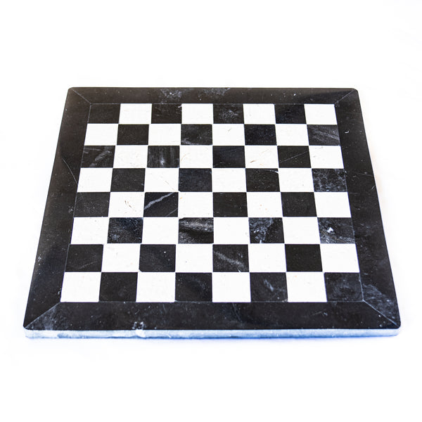 Marble Chess Set- Black and White Marble with Chess Pieces- Black Border- 12""