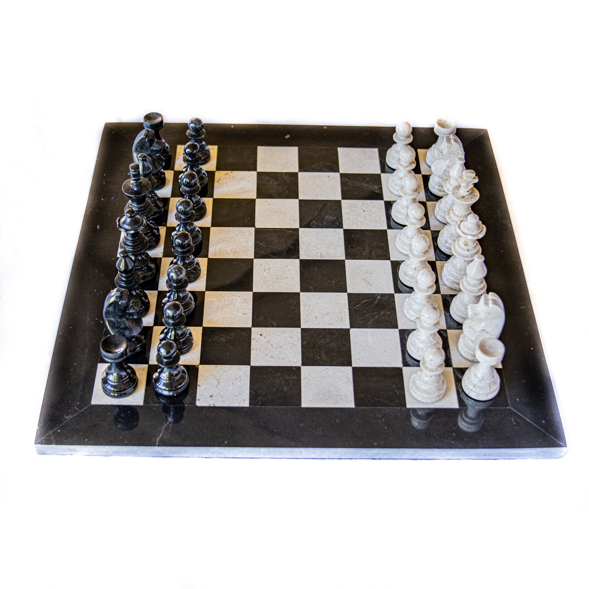 Large Marble Chess Set- Black and White with Fancy Chess Pieces- Black Border- 16""