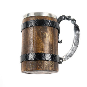 Viking Wooden Mug- Large Tankard- 16 Fl Oz