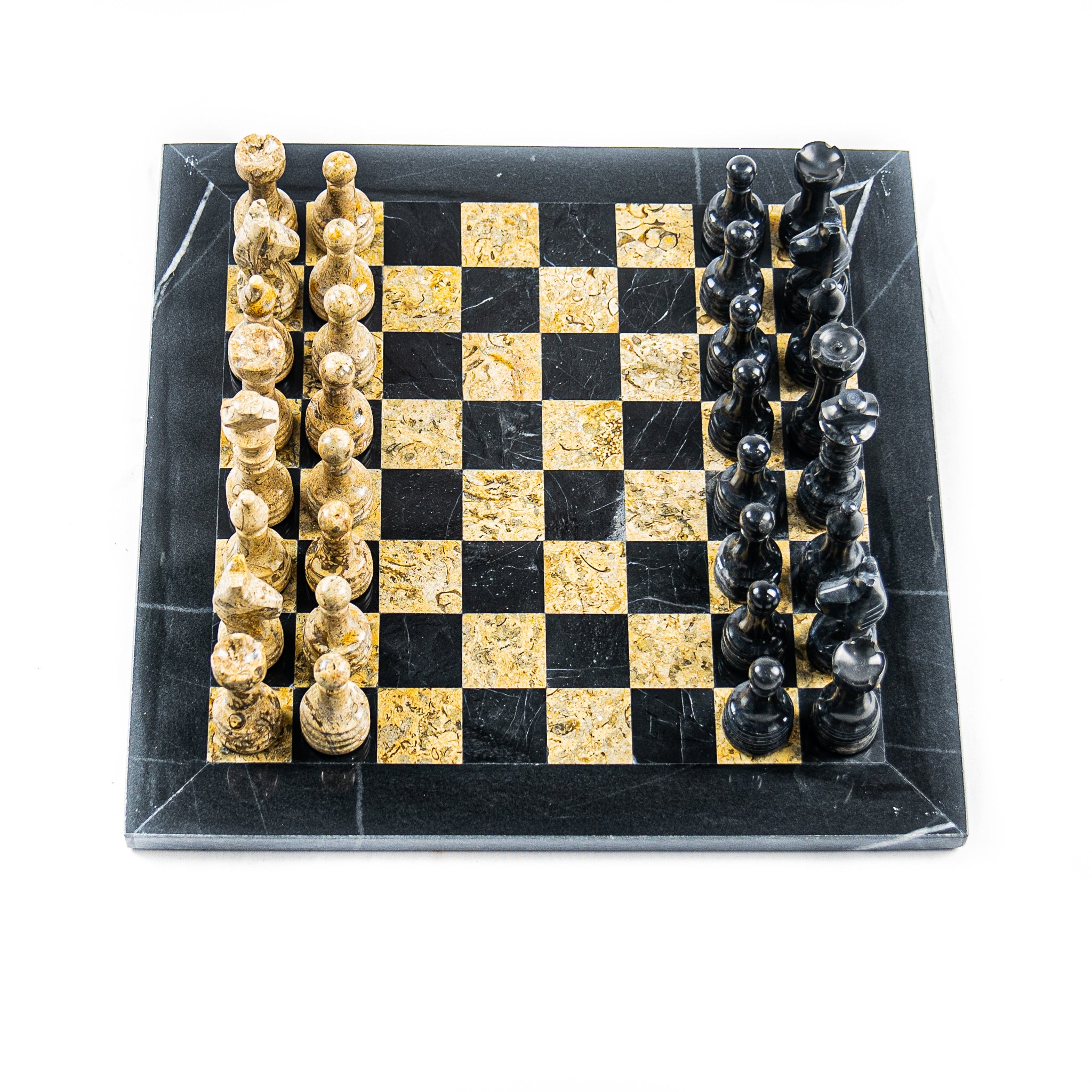 Marble Chess Set- Black and Botticino Marble Chess Board with Pieces- 12""