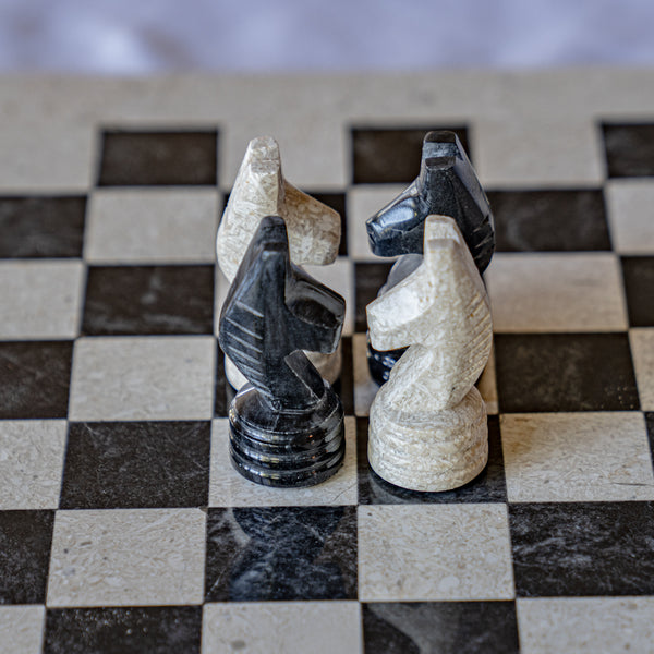 Marble Chess Set- Black and White Coral with Chess Pieces- White Coral Border- 12""