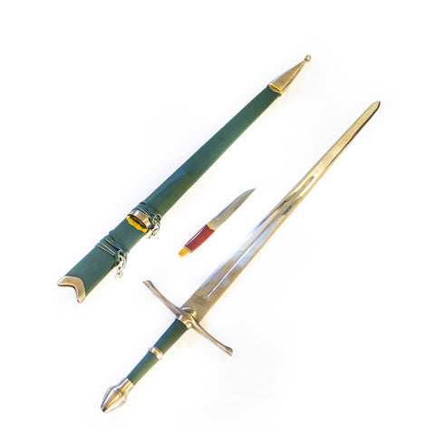 "Longsword with Knife - Green - 44""- High Carbon 1095 Steel Sword With Clay Temper"