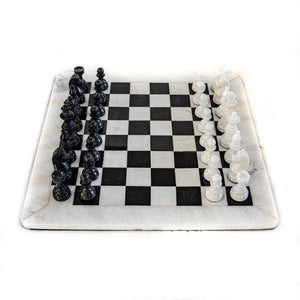 Large Marble Chess Set- White and Black with Fancy Chess Pieces- White Border- 16""