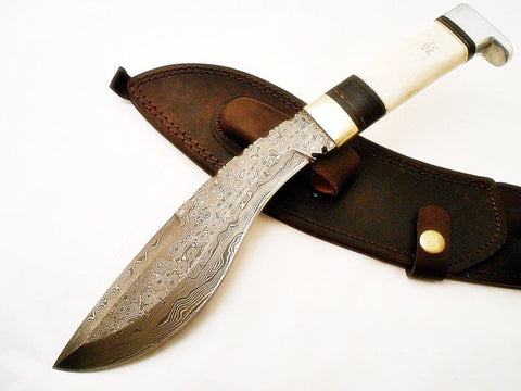 Gurkha Kukri Knife-Handmade High Carbon Damascus Steel Machete/ Knife/ Sword- 13""