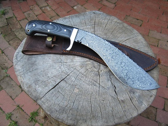 Gurkha Kukri -Handmade High Carbon Damascus Steel Machete/ Knife/ Sword- 16""