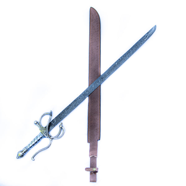 Backsword - Silver Handle - High Carbon Damascus Steel Sword - 36""