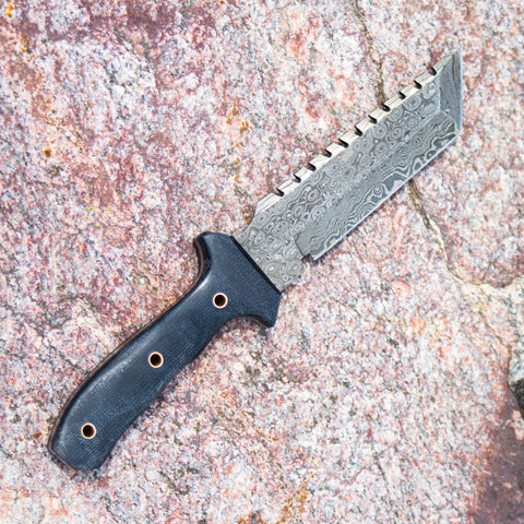 Tracker Knife- Outdoors Knife- High Carbon Damascus Steel Blade- Hunting Knife