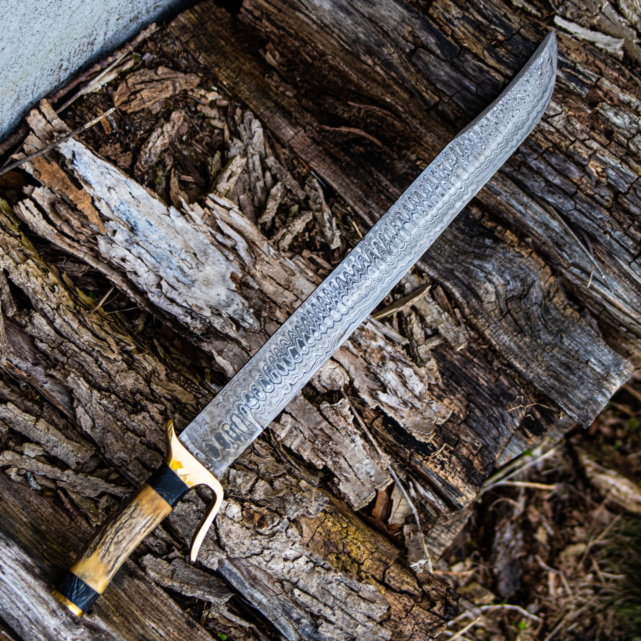 "Messer Sword- High Carbon Damascus Steel -26"" - Grosse Messer"