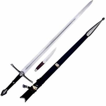 "Longsword with Knife - 44""- High Carbon 1095 Steel Sword With Clay Temper"