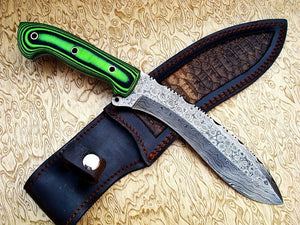 Straight Gurkha Kukri Hunting Knife-Handmade High Carbon Damascus Steel Machete/ Knife/ Sword- 13""