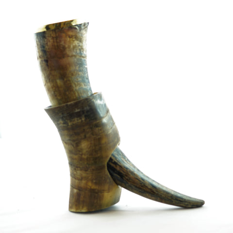Viking Drinking Horn- Large - Horn Stand and Decorative Metal Rim- Buffalo Horn- 16 Fl Oz
