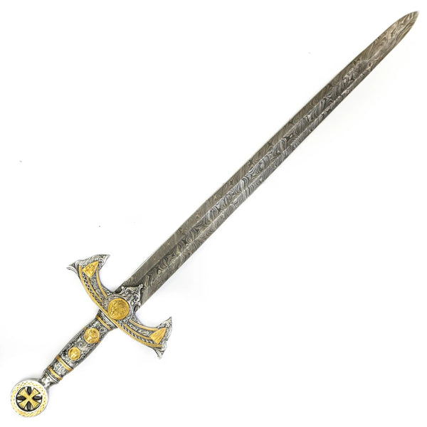 Longsword/ Bastard Sword- Kings Sword- High Carbon Damascus Steel Sword- 41""