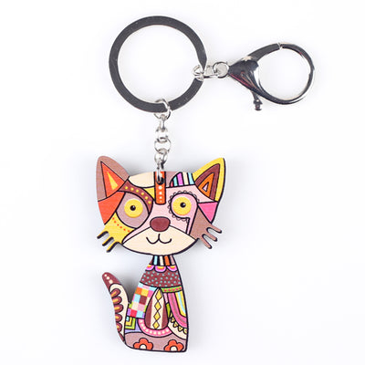 Cute colorful cat keychain made of acrylic plastic