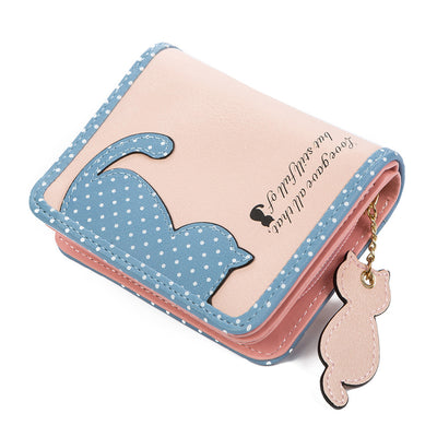 Lovely cat wallet made of synthetic leather with cat application