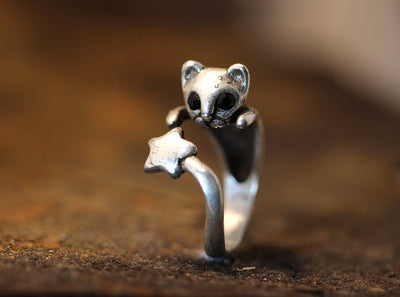 Vintage adjustable cat ring made of zinc alloy